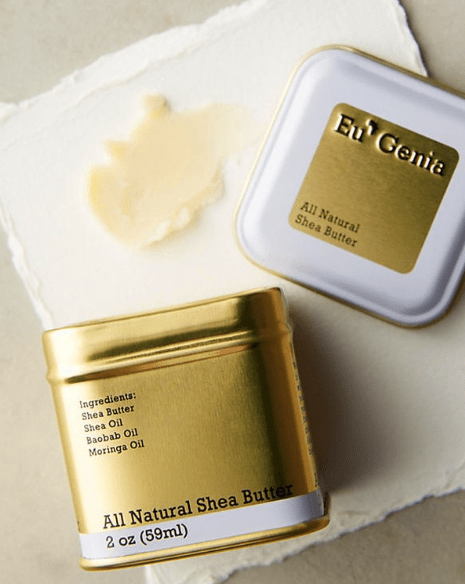 Eu'genia natural shea butter in a gold tin