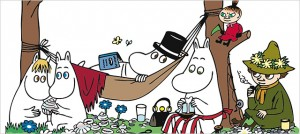 Most of the major Moomins, from left to right: the Snork maiden, Moomintroll, Moominpappa (in hammock with top hat), Moominmamma, Little My and Snufkin. (c) Moomin Characters Ltd