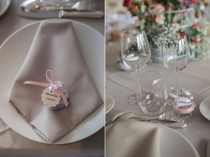 decoration table rose et gris mariage ferme du couvent
