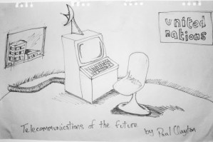 Telecomms of the future by Paul Clayton - a redrawing from 1981