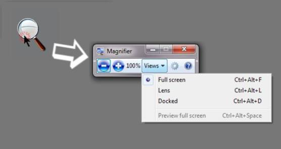 picutre showing the windows magnifier opening