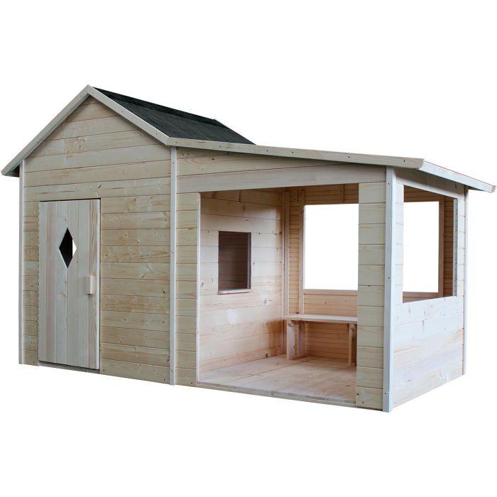 cabane pour enfant en bois avec preau et banc amaryllis