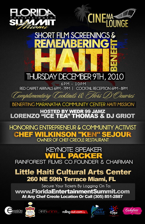 Dec 9, 2010 FILM DAY | The Cinema Lounge & Remembering Haiti Benefit 5:30pm-8pm: Teen Summit Movie Screening The Impact of Media Violence on Youth Panel