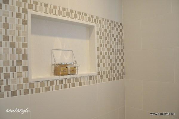 Quartz shower wall niche