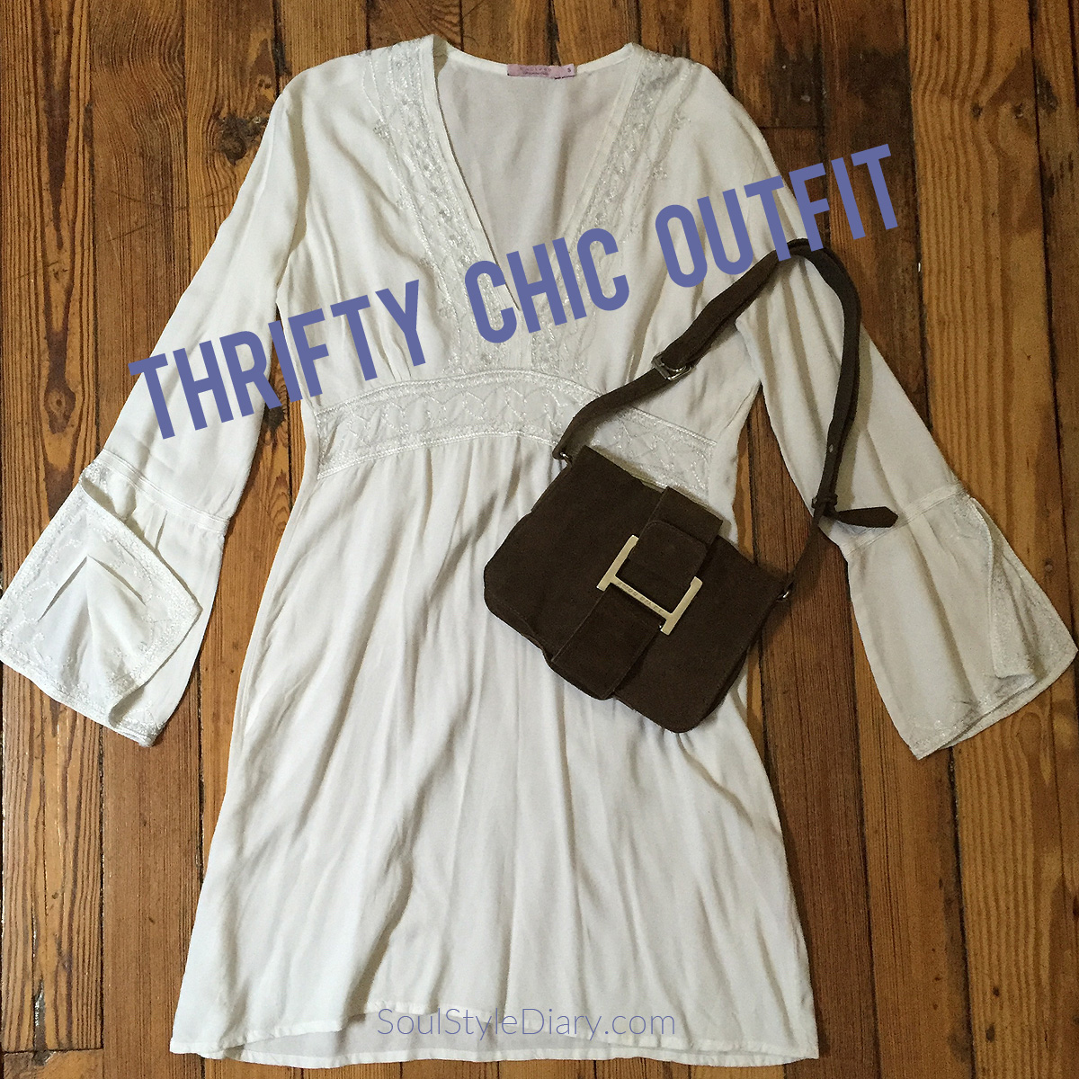 Thrifty Chic outfit with Calypso St Barth mini dress and Miss Sixty bag
