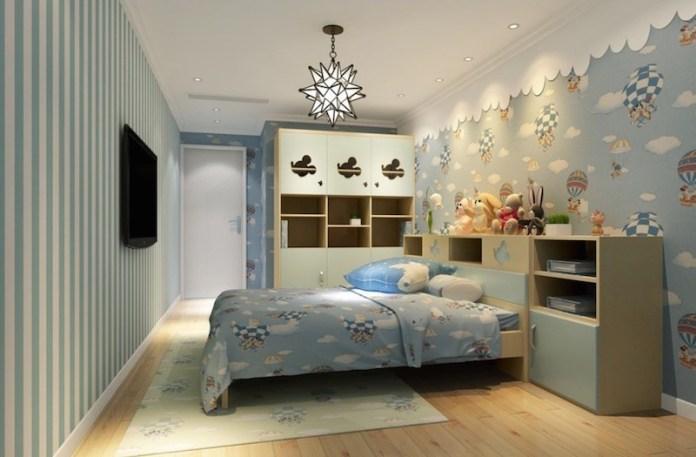 papel-de-parede-quarto-infantil-balões-azul