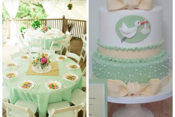 chá de bebê colorido verde