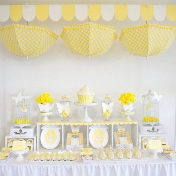 chá de bebê meninas amarelo