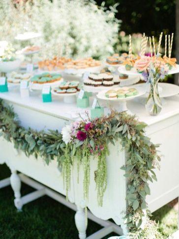 chá de bebê meninas jardim secreto mesa verde