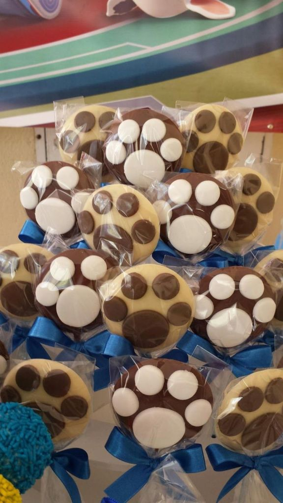 pirulitos de chocolate de Festa Infantil Patrulha Canina