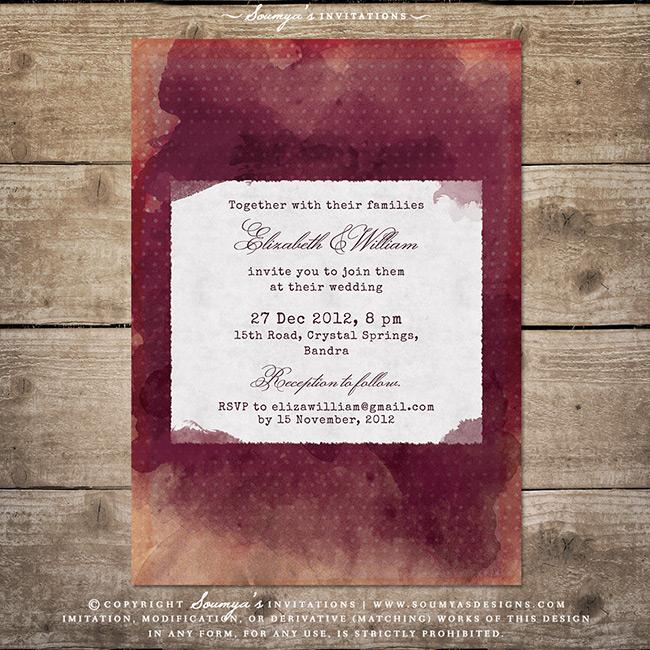 Burgundy Red Wine Wedding Invitation Vineyard Winery Rustic Barn Watercolor Bohemian Boho Invite