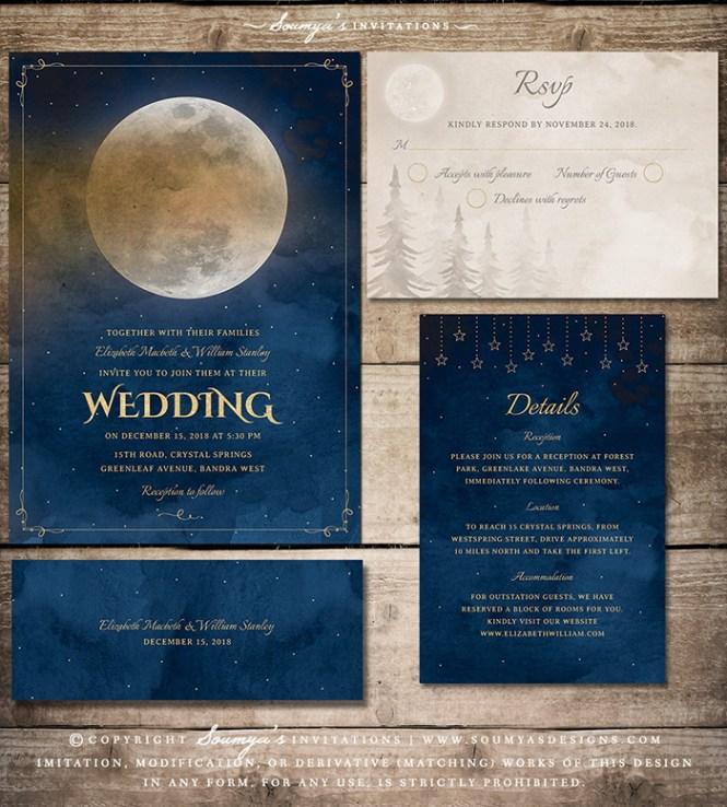 Moon Stars Celestial Wedding Invitation