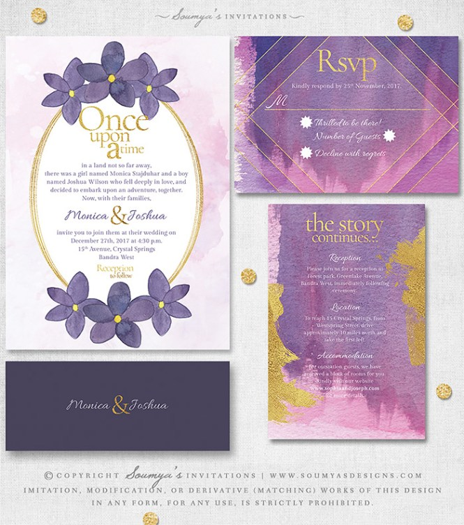 Pink Purple Fl Wedding Invitation Fairytale Once Upon A Time Storybook Princess Bohemian Garden