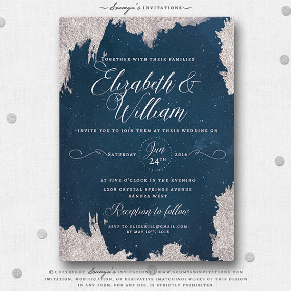 Navy Blue And Silver Star Wedding