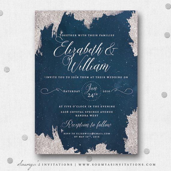 Night Stars String Lights Wedding Invitation Suite