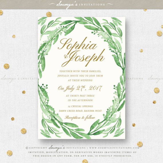 Greenery Green Leaves Wedding Invitation Set Eucalyptus