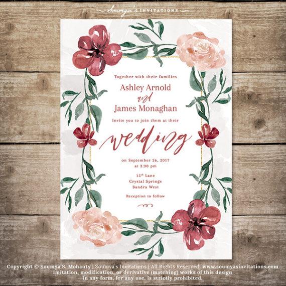 Burgundy Wedding Invitation Fall A