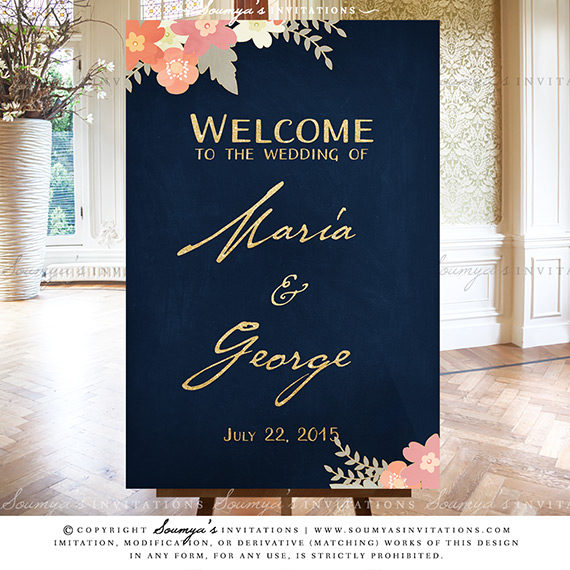 Navy Blue And Gold Blush Pink Coral Peach Wedding Signs