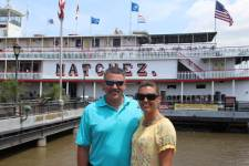Blake and Kirsten before the riverboat tour