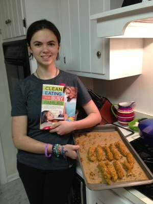 Sarah making Michelle's Pecan-Crusted Chicken Tenders with Yogurt Dill Dip