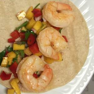 Grilled Cilantro Shrimp Tacos with Mango Salsa that Melissa and Sarah made from Michelle's cookbook