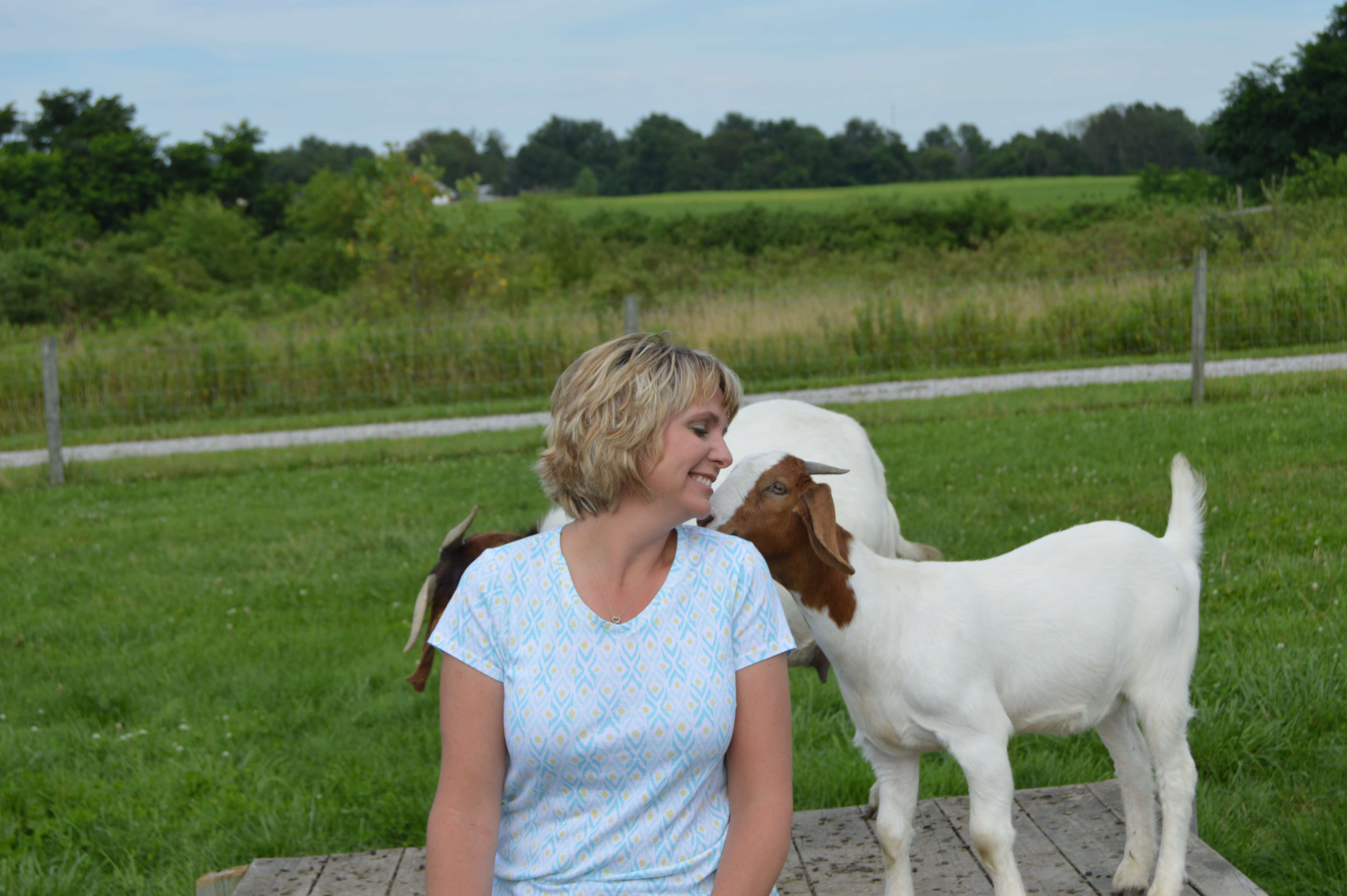Leah and her youngest daughter Darla's goats