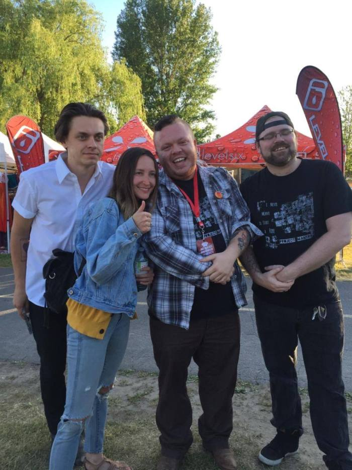 Pictured Peter and Leah of July Talk hang out with Leigh and Justin Steacy