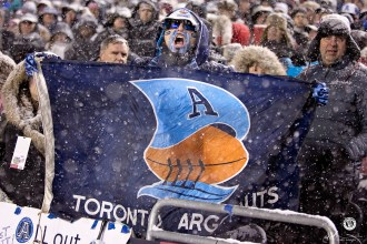 Argos fans at the 105th Grey Cup in Ottawa photo Renee Doiron