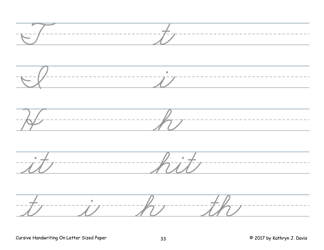 Cursive Handwriting On Letter Sized Paper