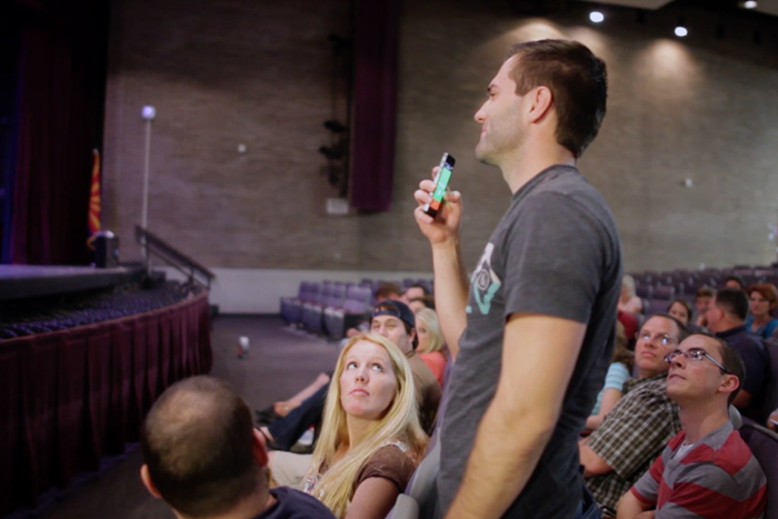 sound-design-live-podcast-crowd-mics-tim-holladay-wireless-microphone-iphone-audience
