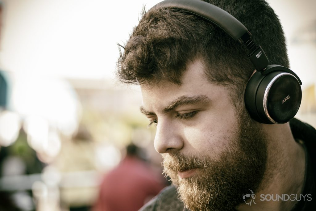 A photo of the AKG N60 NC being worn by Adam Molina.