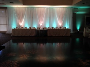 Arden Hills wedding draping and backdrop with mint uplighting