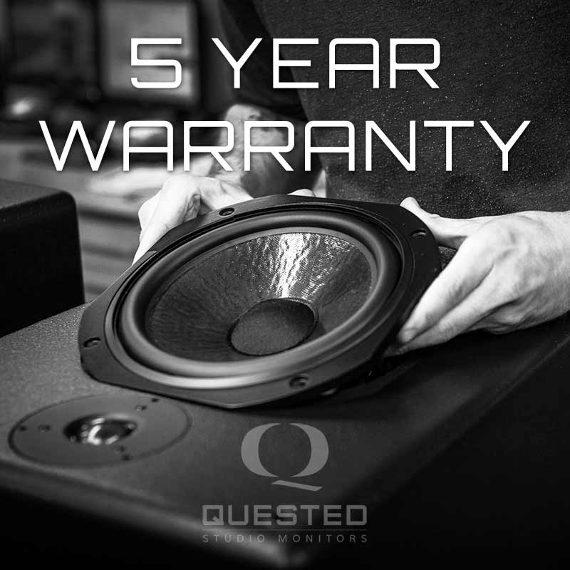 5 Year Warranty on all Quested Studio Monitors