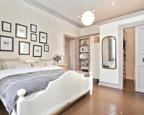 Walls painted white with gray trim