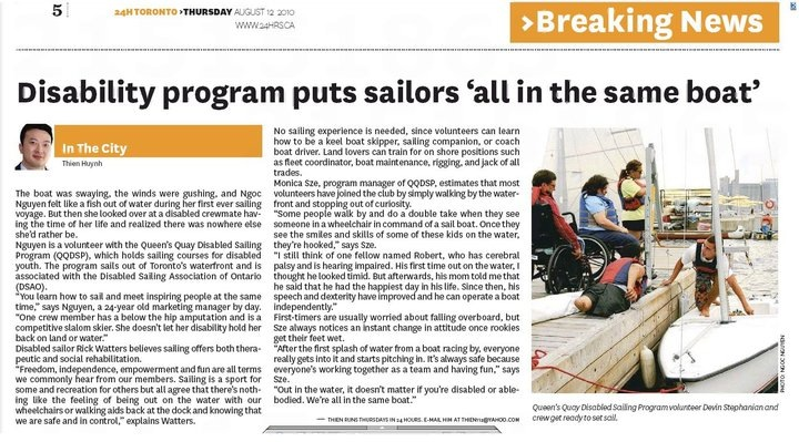 disabled sailing association of Ontario in 24 hours