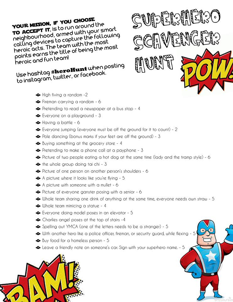 Super hero themed photo scavenger hunt ideas