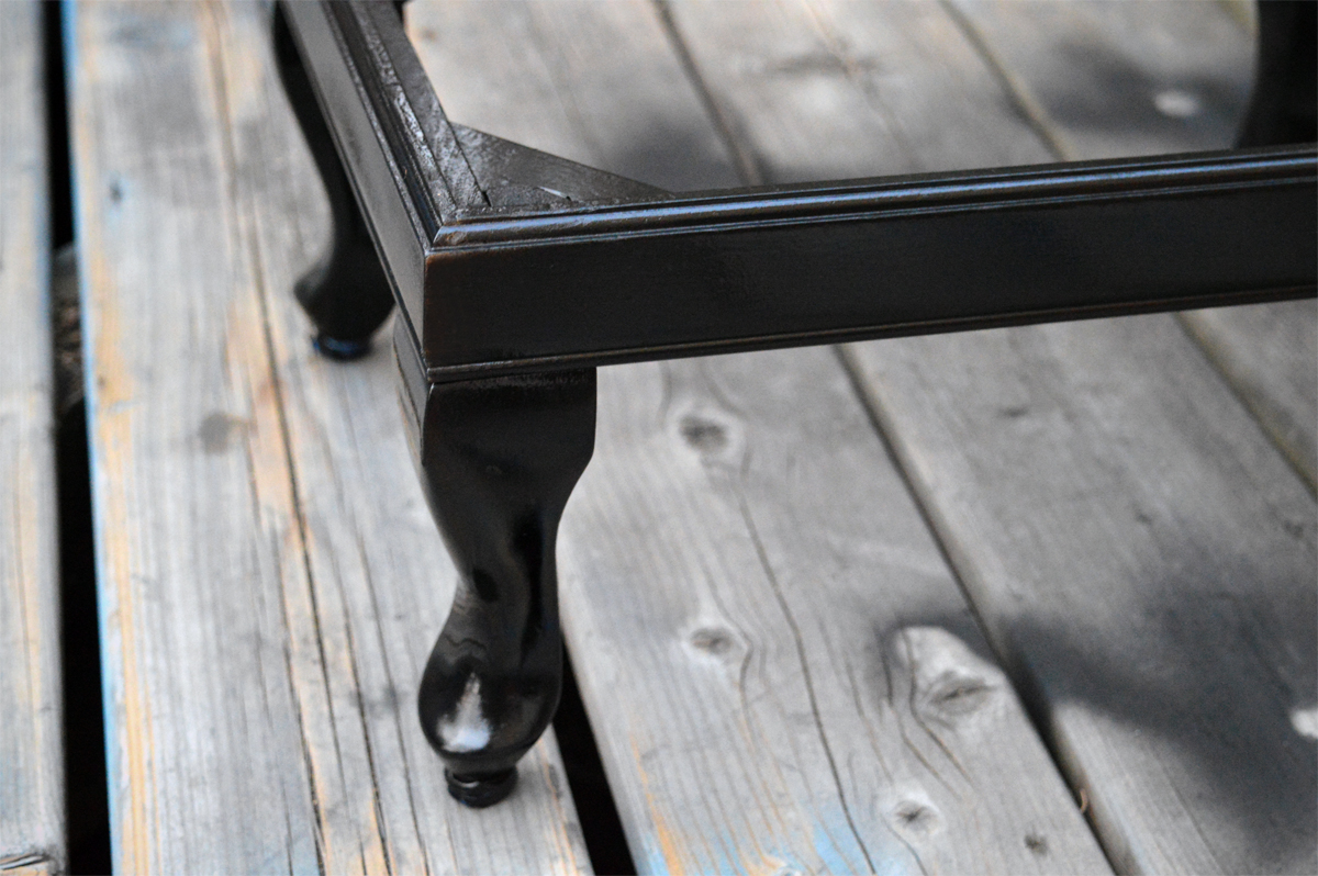 sand and spray paint bench legs