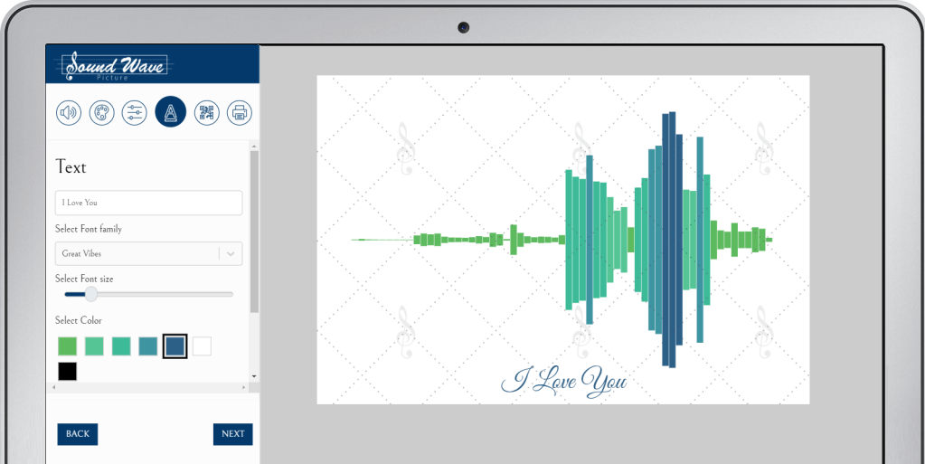 Text added to sound wave image