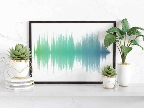 sound wave art blue and green
