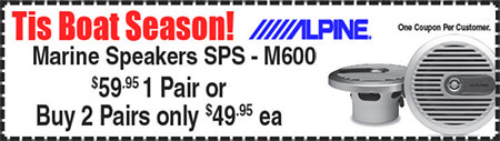 Sound Coupon: Alpine Marine Speakers SPS – M600, $59.95 for 1 pair or 2 pair for only $49.95 each at Sounds Good To Me in Tempe, Arizona