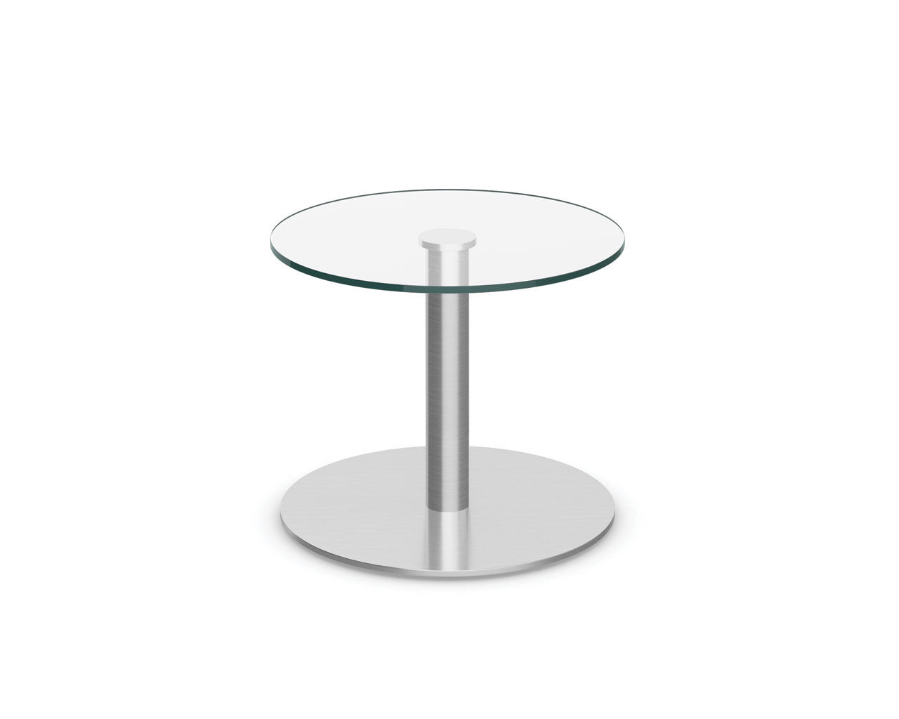 glass table with brushed metal base