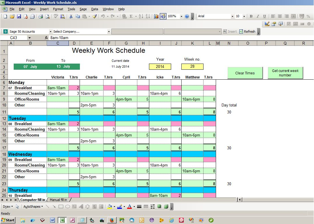 Weekly Work Schedule Excel Spreadsheet