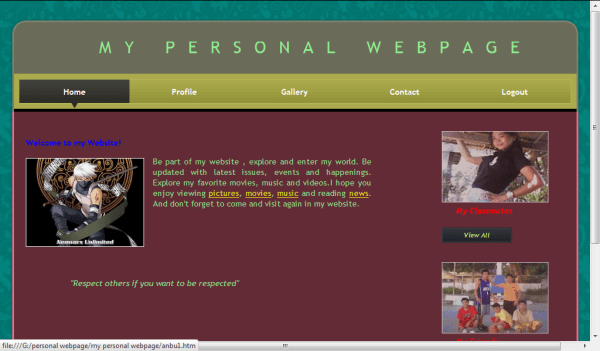 My Personal Webpage | Free Source Code & Tutorials