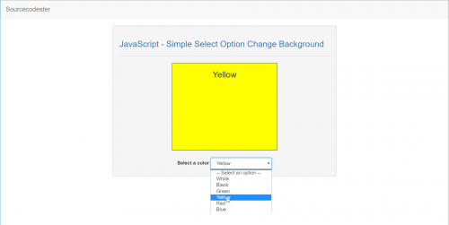 JavaScript - Simple Select Option Change Background | Free ...