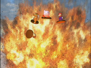 A big Bob-omb explosion! The characters return to their trophy form.