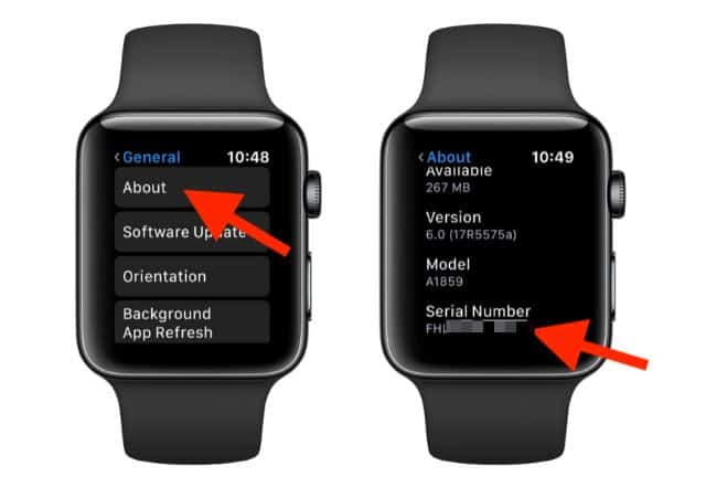 Apple Watch model number
