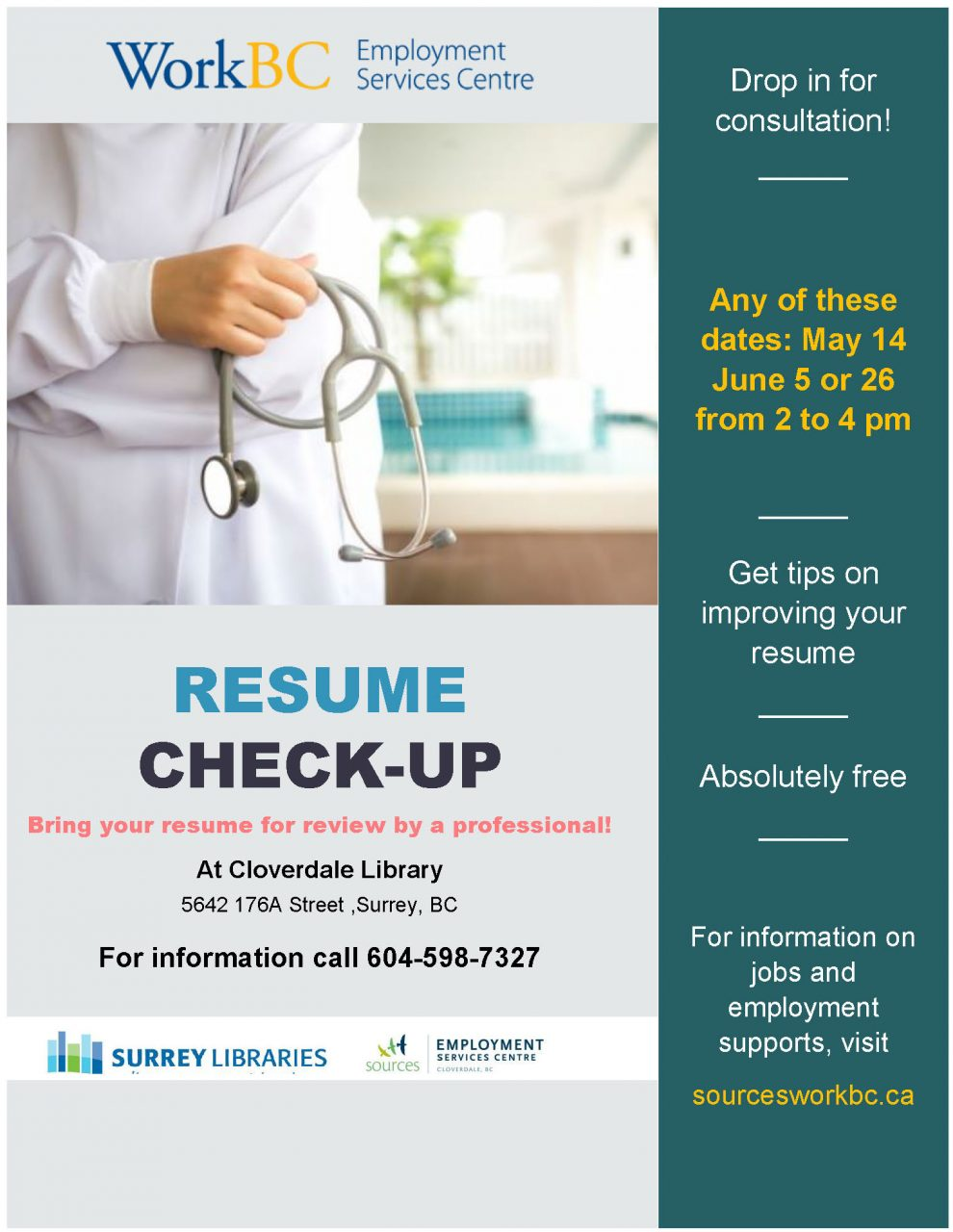 Resume Check-Up at Cloverdale Library – Sources Community Resource ...