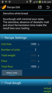 Screen shot of Semolina white bread recipe in BreadBoss app.