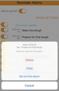 Alarm actions