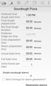 sourdough pizza alarm settings